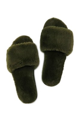Miracles Slippers Faux Fur groen