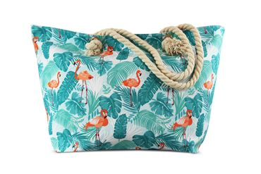 Miracles Beach Bag Flamingo green