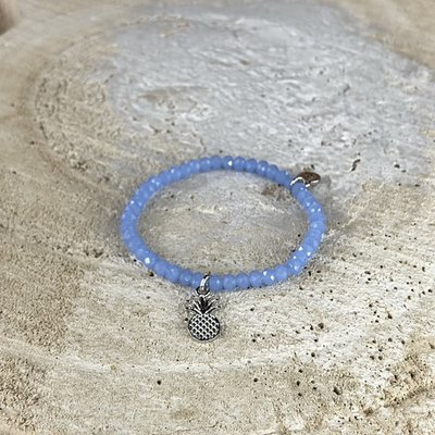 Miracles armband ananas blauw-zilver KIDS